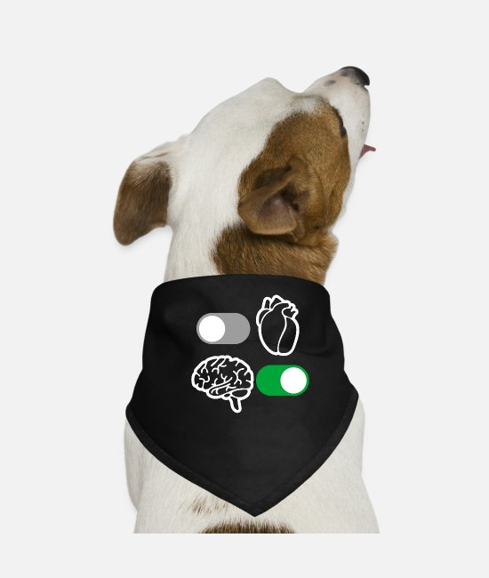 Brain Bandanas - Brain and heart reason - Dog Bandana black