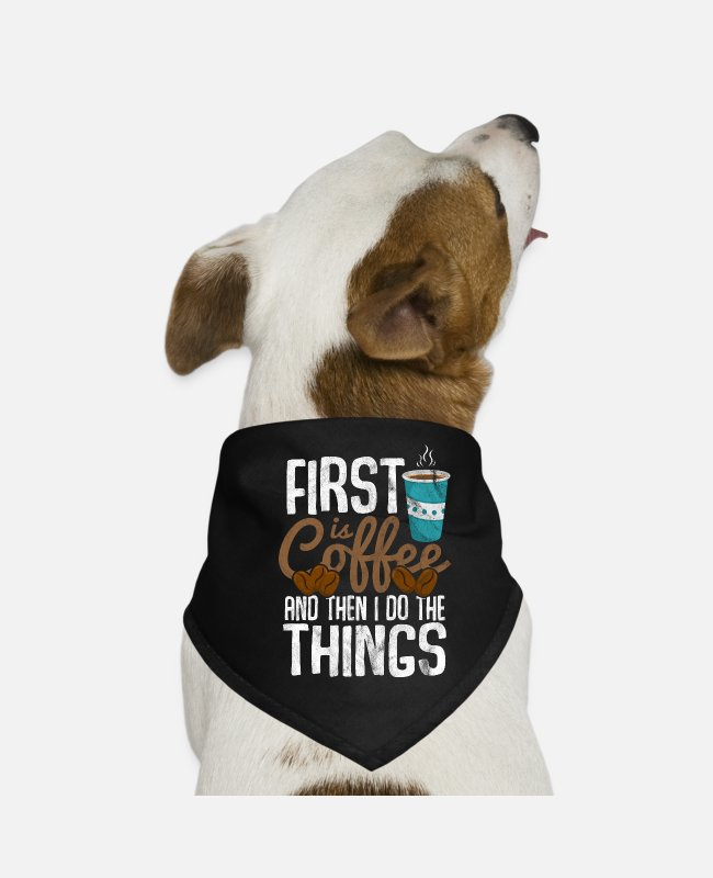 Tea Bandanas - Coffee Priority Caffeine Espresso Cappuccino Cafe - Dog Bandana black