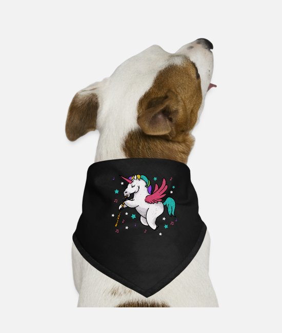 Cute Bandanas - Flying Unicorn Musician - Clarinetist & Flutist - Dog Bandana black