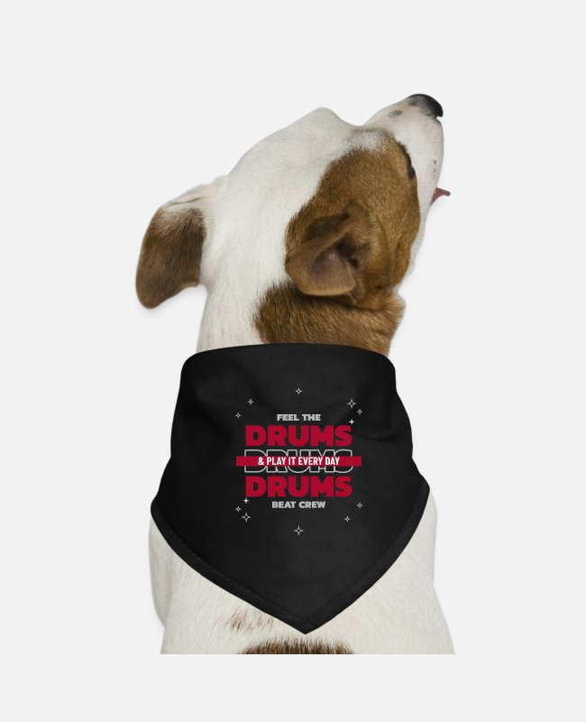 Bass Bandanas - Feel the drum beat crew - Dog Bandana black