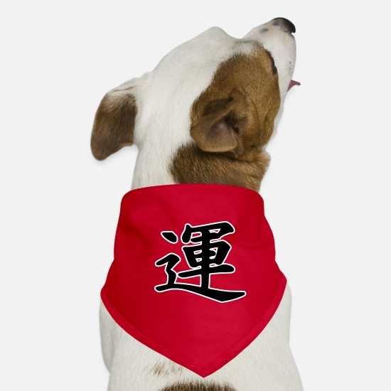 Gift Idea Bandanas - Luck kanji / luck kanji, black - Dog Bandana red