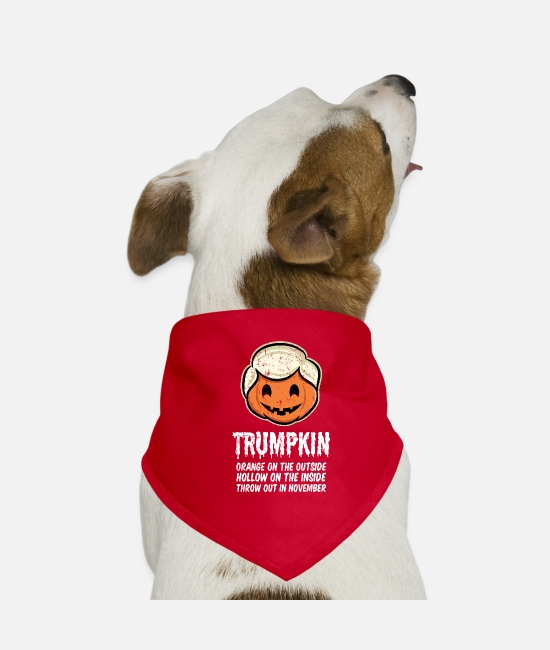 Halloween Costume Bandanas - Trumpkin Orange on the outside Hollow on the - Dog Bandana red