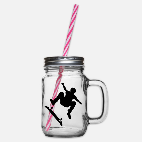 Sk8 Mugs & Drinkware - Skateboarder on skateboard - Glass jar with handle and screw cap clear