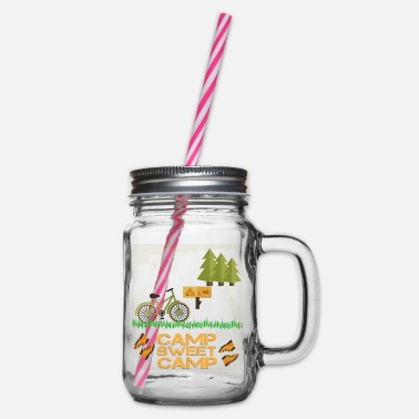Camp Camp - Camp sweet camp - Glass jar with handle and screw cap