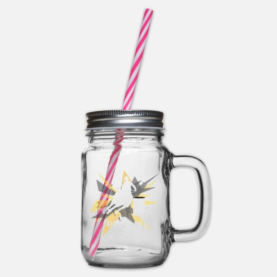 Barrel Racing T Shirt Mugs & Drinkware - Barrel Racing - Dude, Barrel Racing ain't for - Glass jar with handle and screw cap clear