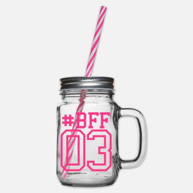Number 03 3 BFF best friends girlfriend - Glass jar with handle and screw cap