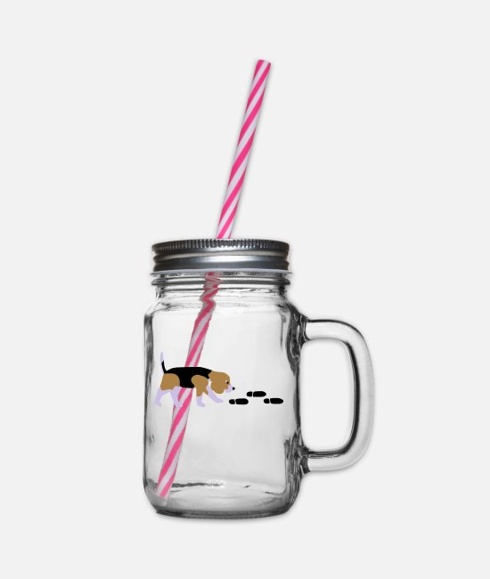 Mantrailer Mugs & Drinkware - Beagle Mantrailer - Glass jar with handle and screw cap clear