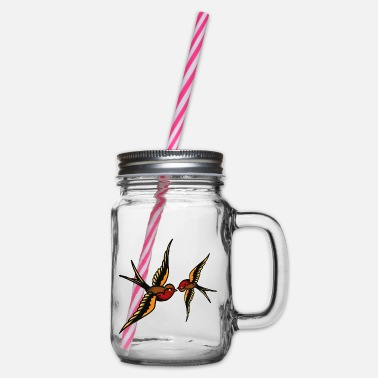 Fly Tattoo tattoo - Glass jar with handle and screw cap