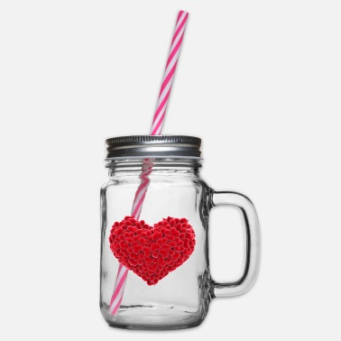 Heart Heart of hearts - Glass jar with handle and screw cap