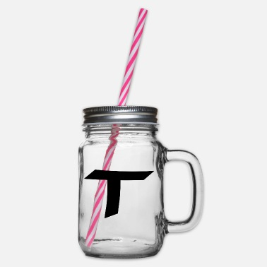 Uppercase Calligraphy alphabetical letter uppercase T - Glass jar with handle and screw cap