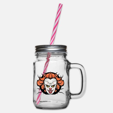 Horror Creepy horror clown 2 - Glass jar with handle and screw cap