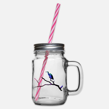 White Faced Heron Pop Art 2 - Glass jar with handle and screw cap