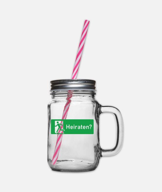 Engagement Mugs & Drinkware - Marry? - Glass jar with handle and screw cap clear