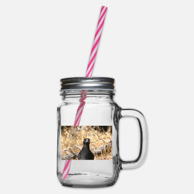 A magpie staring straight at the camera - portrait - Glass jar with handle and screw cap