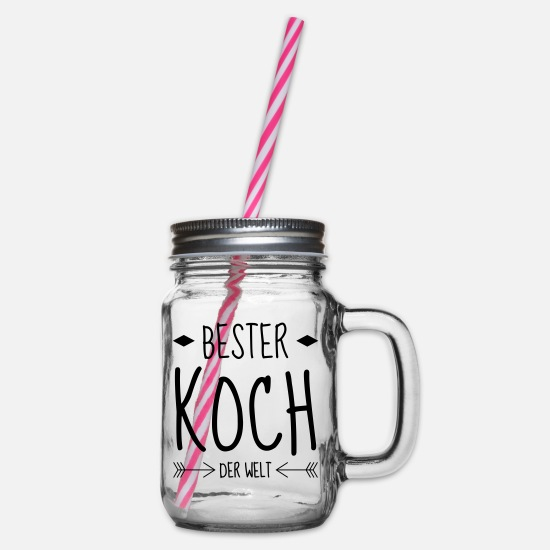 Cook Mugs & Drinkware - Cook Cooking Koch Kochen Cuisine Cuisinier - Glass jar with handle and screw cap clear