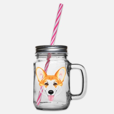 Portrait of a happy welsh corgi - Glass jar with handle and screw cap