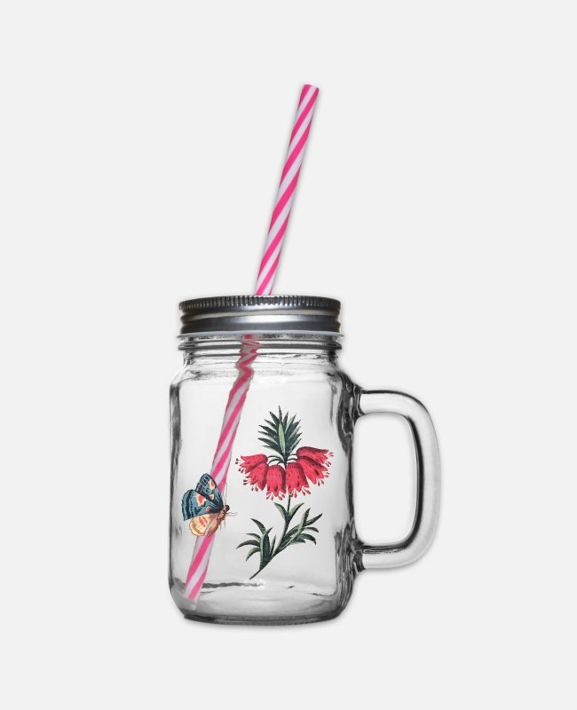 Red Mugs & Drinkware - Flying butterfly with flowers - Glass jar with handle and screw cap clear