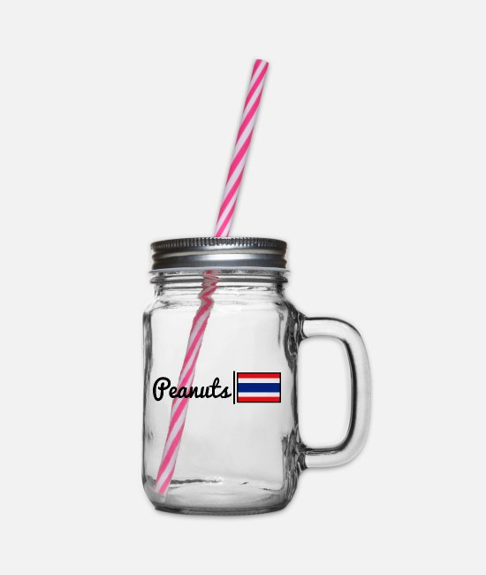 Love Mugs & Drinkware - Peanuts - Thailand - Glass jar with handle and screw cap clear