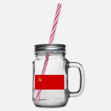 Soviet Union Flag of the Soviet Union - Glass jar with handle and screw cap