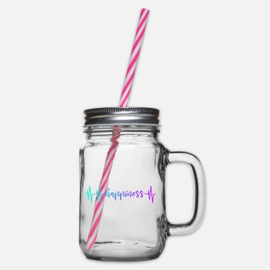 Red White HEARTBEAT HAPPINESS GRADIENT BLUE PURPLE - Glass jar with handle and screw cap