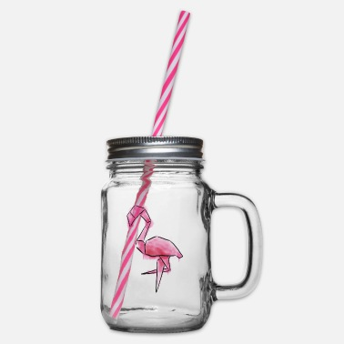 Trendy Flamingo in a trendy watercolor look - Glass jar with handle and screw cap