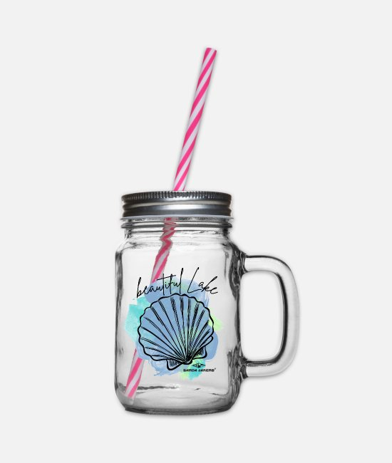 Sail Boat Mugs & Drinkware - Garda Lakers Beautiful Lake - Glass jar with handle and screw cap clear