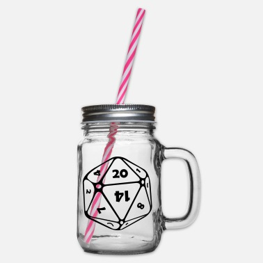 Dodecahedron dice 12 pages - Glass jar with handle and screw cap