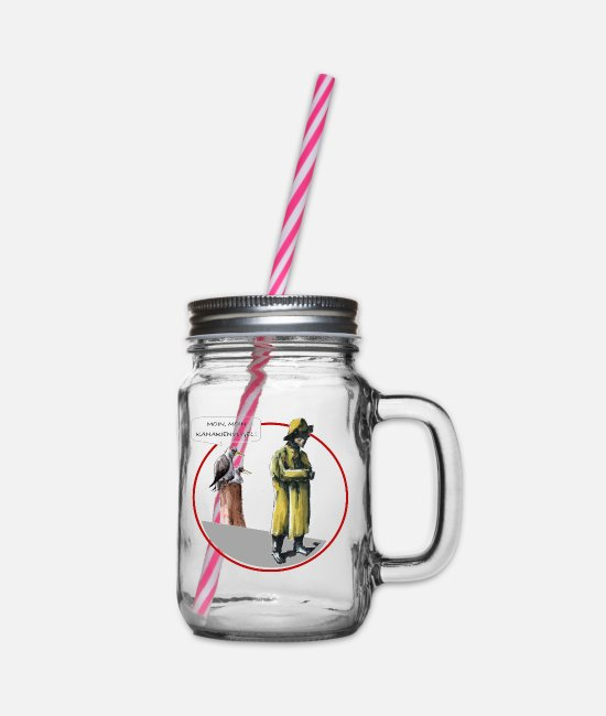East Frisia Mugs & Drinkware - Moin, big canary - Glass jar with handle and screw cap clear