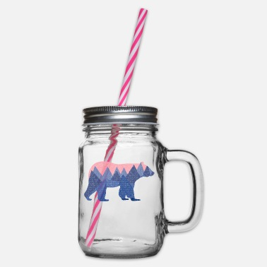 Animal Collection V2 mountain bear - Glass jar with handle and screw cap