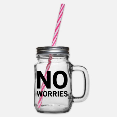 Worry No worries - Glass jar with handle and screw cap