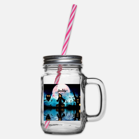 Caricature Mugs & Drinkware - Funny halloween design - Glass jar with handle and screw cap clear