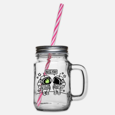 Bless You Bless you! - Glass jar with handle and screw cap