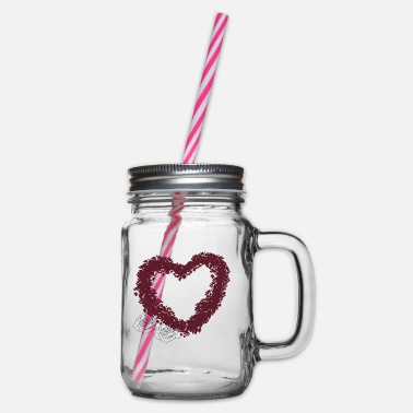 A flower heart - Glass jar with handle and screw cap