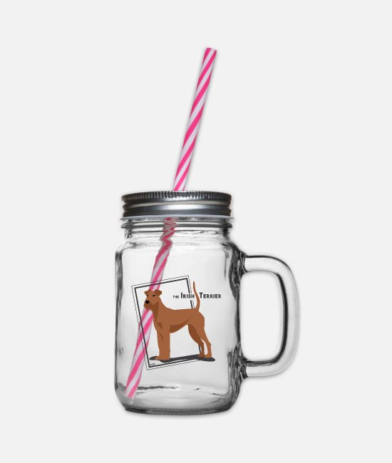Purebred Dog Mugs & Drinkware - the Irish Terrier by IxCÖ - Glass jar with handle and screw cap clear