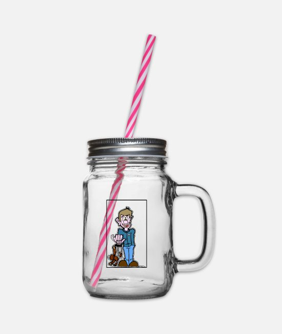 Dosky.D Mugs & Drinkware - boy with puppet - Glass jar with handle and screw cap clear