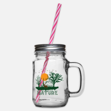 Save nature - Glass jar with handle and screw cap