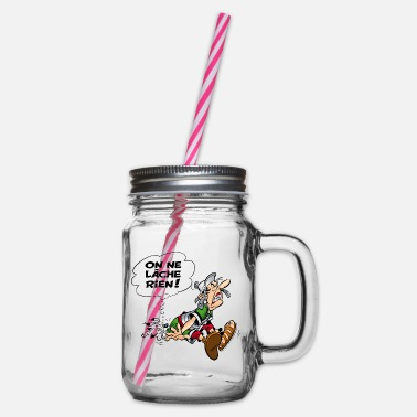 Asterix & Obelix We never give up! - Glass jar with handle and screw cap