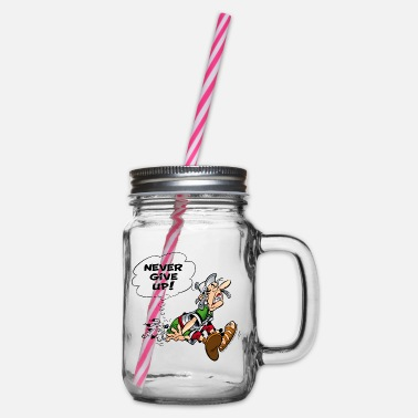 Asterix & Obelix Never Give Up - Glass jar with handle and screw cap