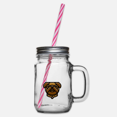 Good Boy Pug Shirt - Glass jar with handle and screw cap