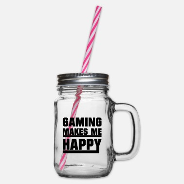 Nerd Gaming makes me happy - Glass jar with handle and screw cap