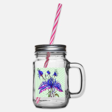 Rose Flower - Glass jar with handle and screw cap