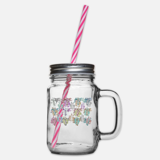 Floral Mugs & Drinkware - floral pattern - Glass jar with handle and screw cap clear