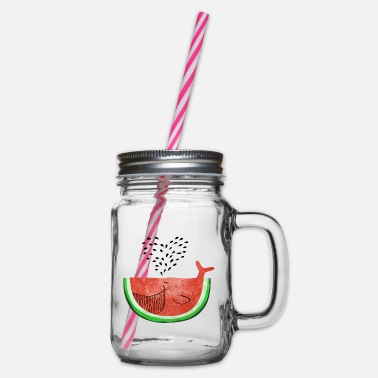 Summer Watermelon Whale - Whale Melon - Fruits -Love - Glass jar with handle and screw cap