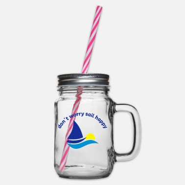 Sailing sailing - Glass jar with handle and screw cap