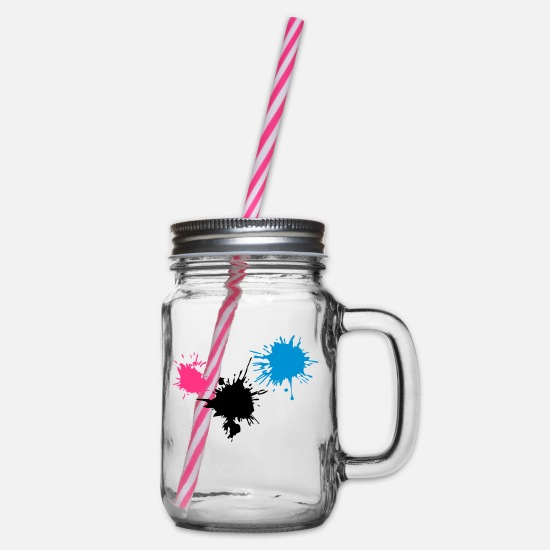Halloween Mugs & Drinkware - 3 colorful bloodstains KLEX drop color - Glass jar with handle and screw cap clear