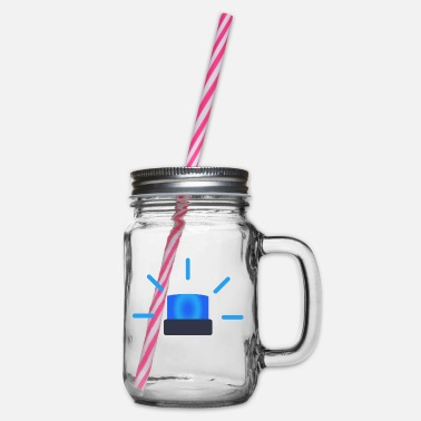 Blue Light blue light - Glass jar with handle and screw cap