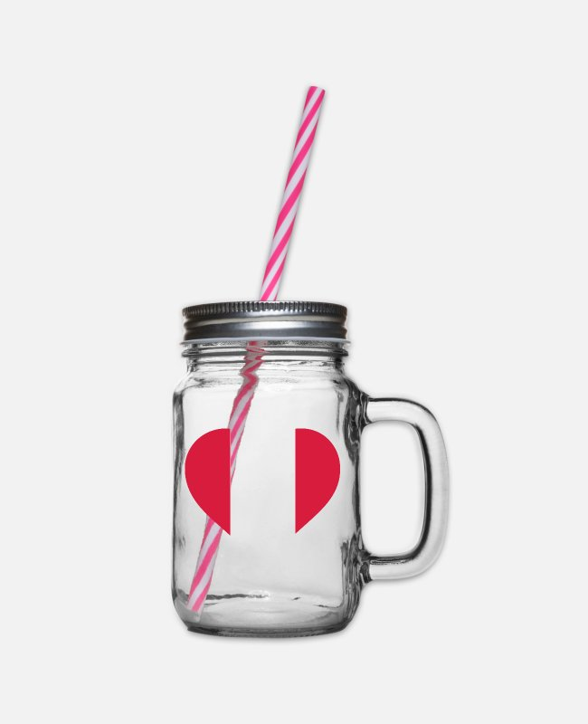 South America Mugs & Drinkware - A Heart for Peru - Glass jar with handle and screw cap clear