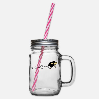 Sweet black sheep - Glass jar with handle and screw cap