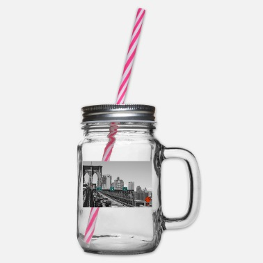 Brooklyn bridge - Glass jar with handle and screw cap