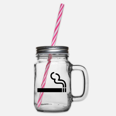 Smoking Ban Cigarette,smoking,smoking ban - Glass jar with handle and screw cap